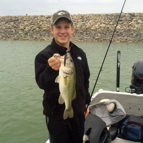 Brandon with his first bass since joining the 4-F club.